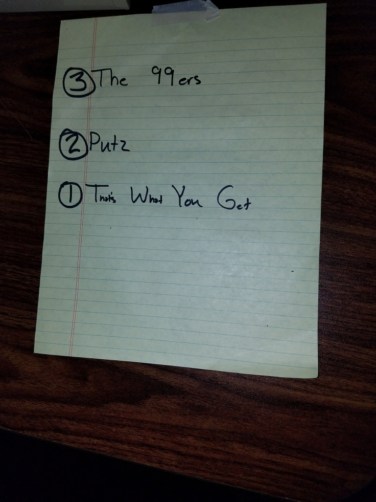 Set-list For The Putz @ Eagles Club
